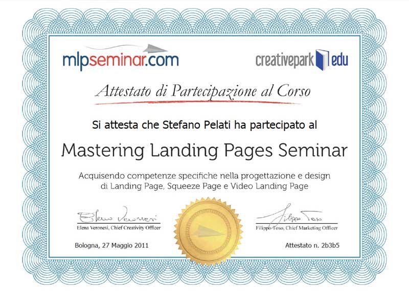 Attestato partecipazione al corso Mastering Landing Pages
