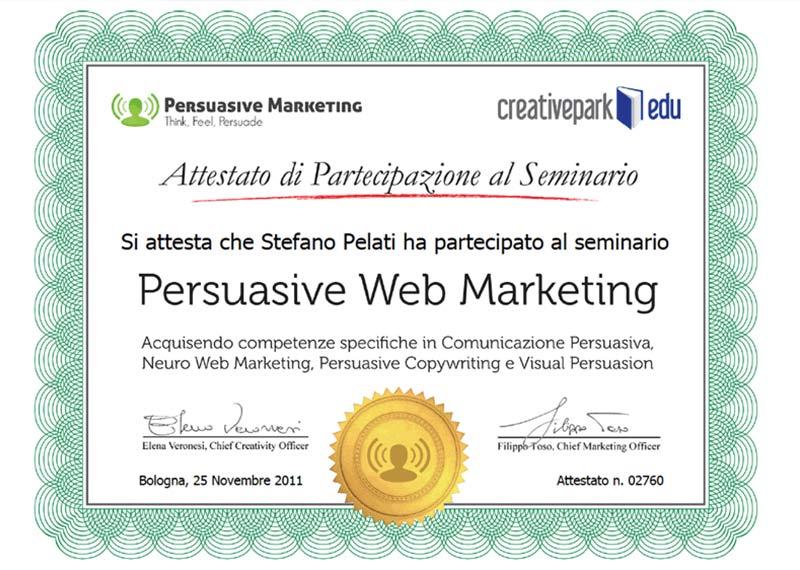 Attestato partecipazione al corso Persuasive Web Marketing