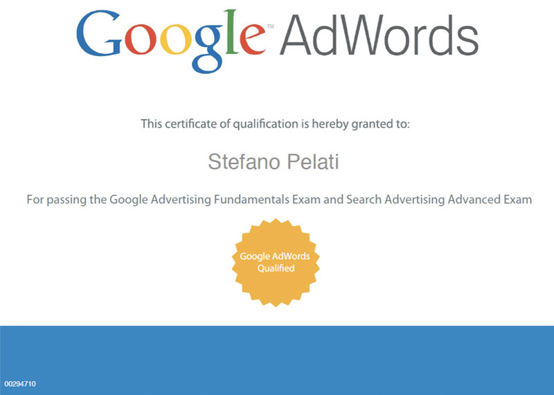 Certificato Google AdWords Professionals