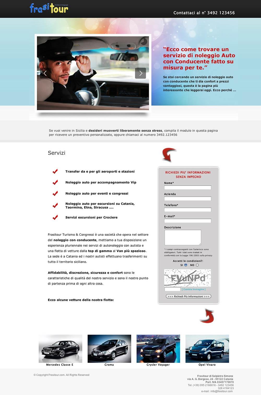 Landing page Noleggio auto con conducente