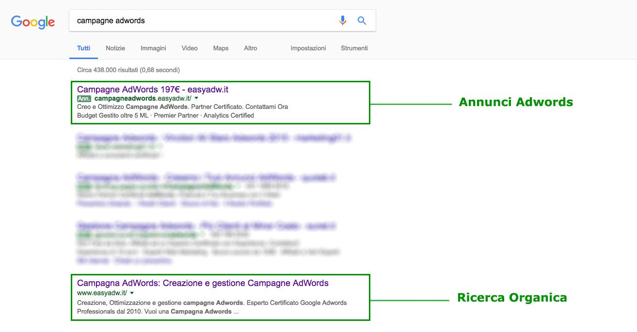 Risultati ricerca campagna AdWords: Annunci AdWords e Ricerca Organica
